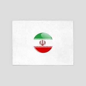 Iran flag button 5'x7'Area Rug