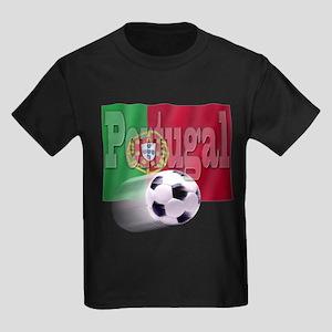 Soccer Flag Portugal Kids Dark T-Shirt