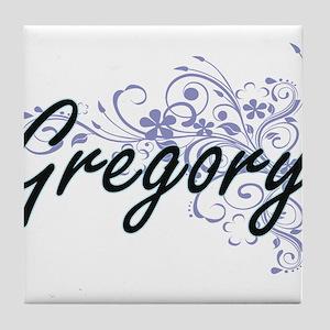 Gregory surname artistic design with Tile Coaster