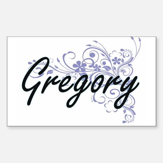 Gregory surname artistic design with Flowe Decal