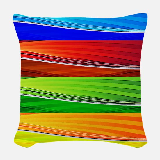 fields of bright colors Woven Throw Pillow