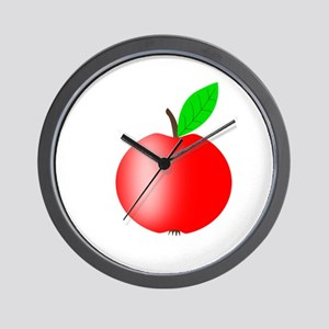 Apple Red with a Green Leaf Wall Clock