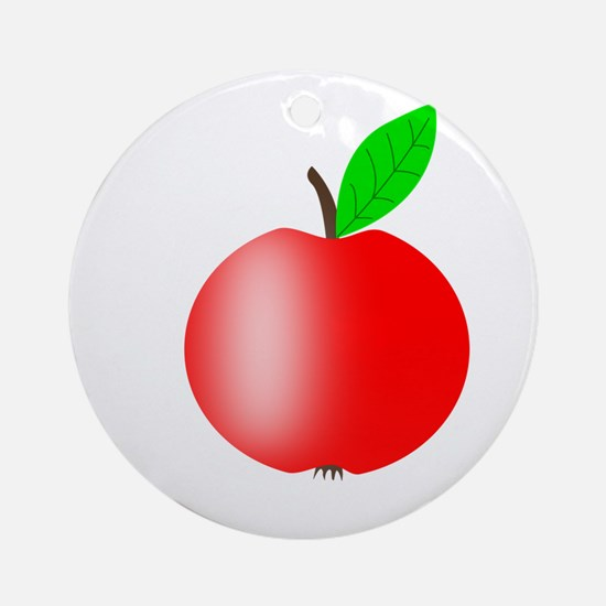 Apple Red with a Green Leaf Round Ornament