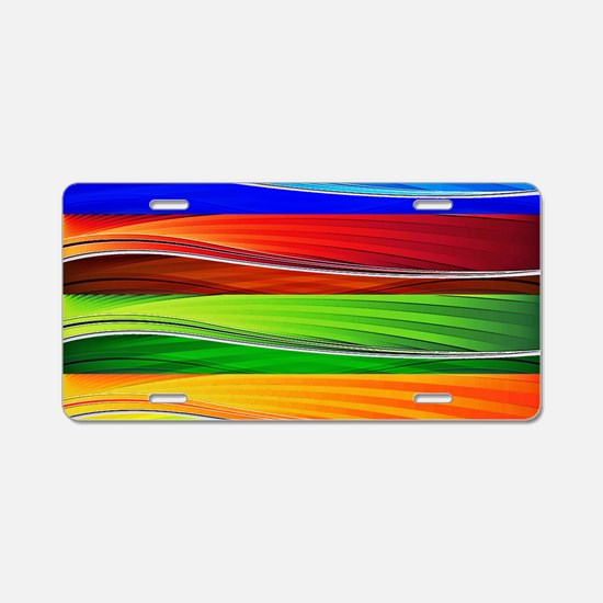 fields of bright colors Aluminum License Plate