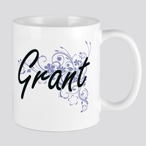 Grant surname artistic design with Flowers Mugs