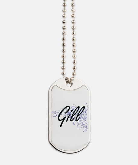 Gill surname artistic design with Flowers Dog Tags