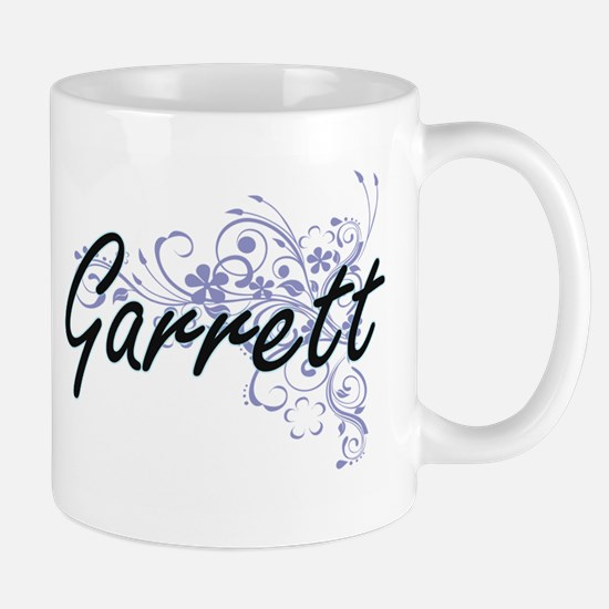 Garrett surname artistic design with Flowers Mugs