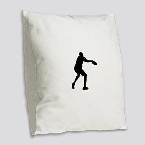 Discus throw silhouette Burlap Throw Pillow