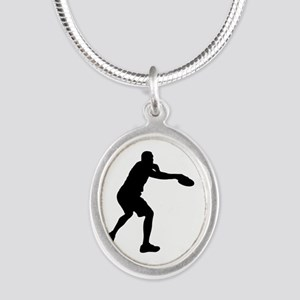 Discus throw silhouette Necklaces