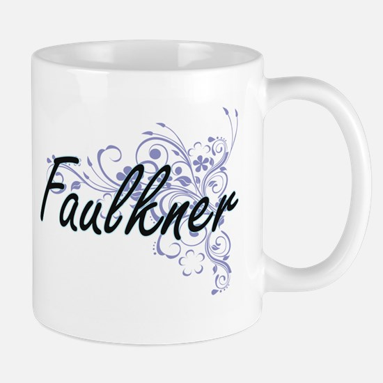 Faulkner surname artistic design with Flowers Mugs