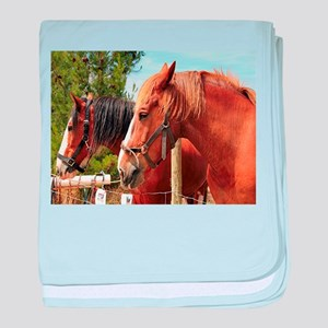 Two farm draft horses baby blanket