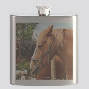 Two farm draft horses Flask