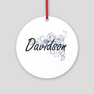 Davidson surname artistic design wi Round Ornament
