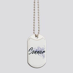 Conner surname artistic design with Flowe Dog Tags