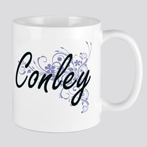 Conley surname artistic design with Flowers Mugs
