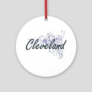 Cleveland surname artistic design w Round Ornament