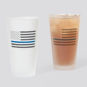 Law Enforcement Blue Line Flag Drinking Glass