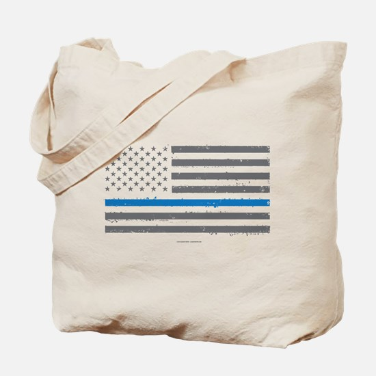 Law Enforcement Blue Line Flag Tote Bag