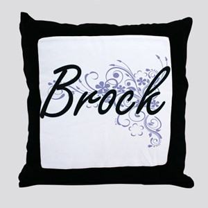Brock surname artistic design with Fl Throw Pillow