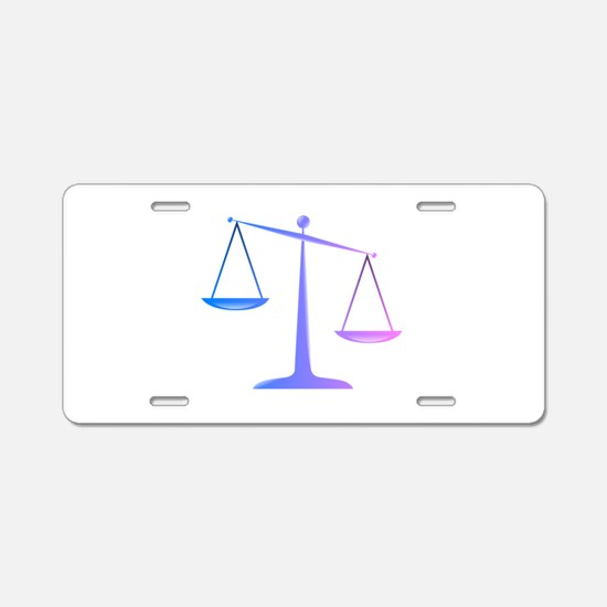 Scales of justice colored g Aluminum License Plate
