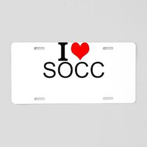 I Love Soccer Aluminum License Plate