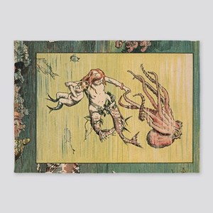 Mermaid and Octopus 5'x7'Area Rug