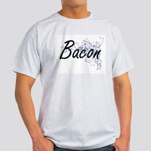Bacon surname artistic design with Flowers T-Shirt