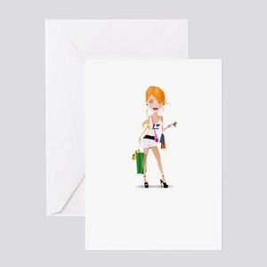 Cartoon Shopping Girl Character Greeting Cards