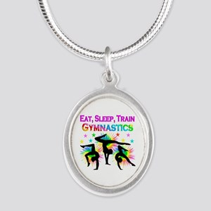 GYMNAST GIRL Silver Oval Necklace