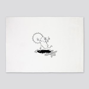 Groundhog silhouette 5'x7'Area Rug