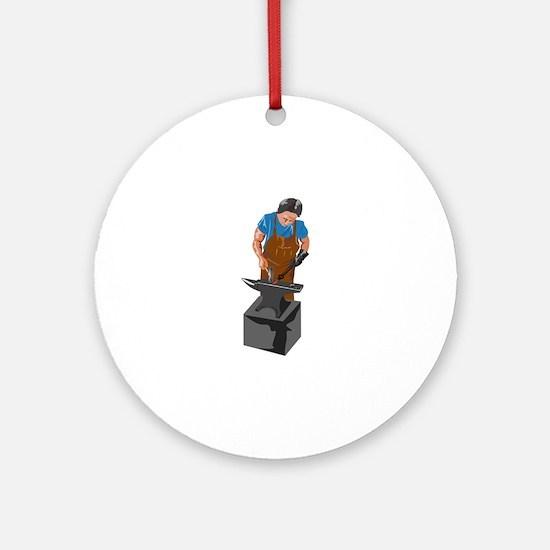 Blacksmith Working Round Ornament