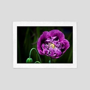 Pretty Purple Poppy Flower 5'x7'Area Rug