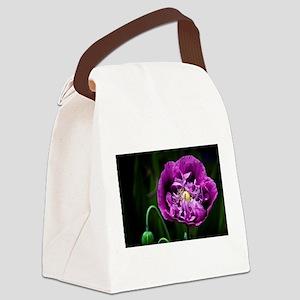 Pretty Purple Poppy Flower Canvas Lunch Bag
