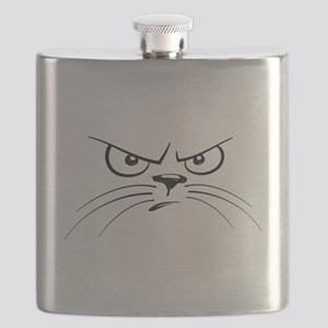 Funny Black and White Angry Cat Face Flask