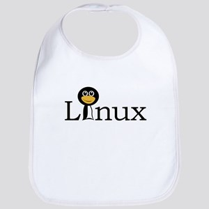 Linux text with funny tux face Bib