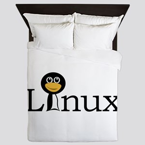 Linux text with funny tux face Queen Duvet