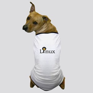 Linux text with funny tux face Dog T-Shirt