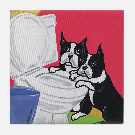 Boston Terrier Drinking BuddiesTile Coaster