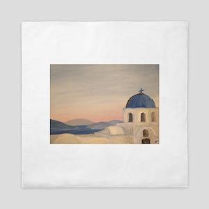 Sunset in Oia, Santorini, Greece Queen Duvet