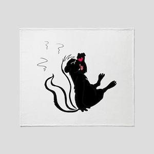 Skunk Stinky eating Throw Blanket