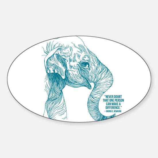 One Can Make a Difference Elephant Sketch Decal