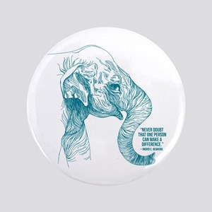 One Can Make a Difference Elephant Sketch Button