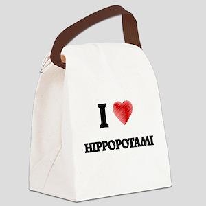 I love Hippopotami Canvas Lunch Bag
