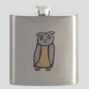 Grey orange Owl Flask