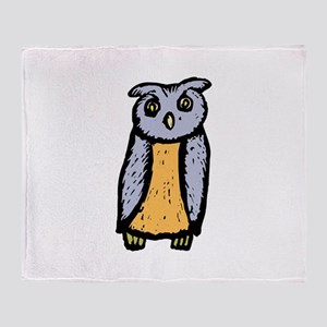 Grey orange Owl Throw Blanket