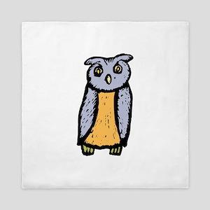 Grey orange Owl Queen Duvet