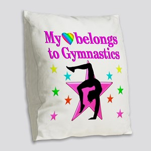 GYMNAST GIRL Burlap Throw Pillow