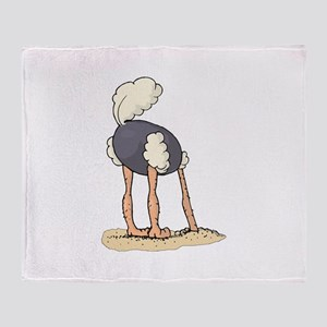 Ostrich Head in Sand tail up Throw Blanket