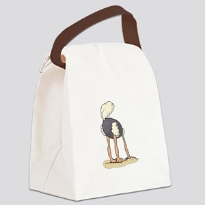 Ostrich Head in Sand tail up Canvas Lunch Bag