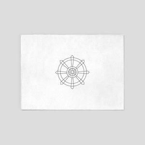 Dharma wheel 5'x7'Area Rug